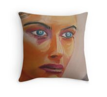 Woman in a magazine Throw Pillow