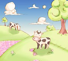 2 Cows on a hill by kathybellie