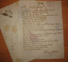Handwritten romantic letter calligraphy  by Melissa Goza