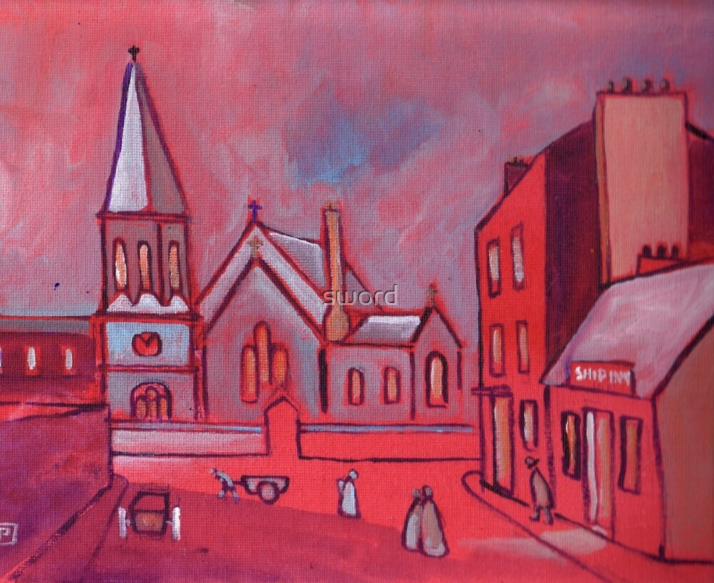 Saint Pauls Church Whitley Bay England in circa 1900 (from my original acrylic) by sword