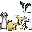 Italian Greyhound Trio by offleashart