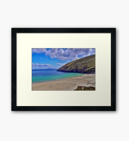 Walkers On Keem Beach, Achill Island Feted By The Green Atlantic Ocean. Framed Print