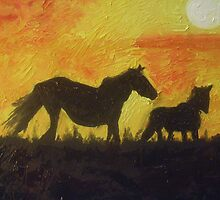 Sunset Horses by jessyanne