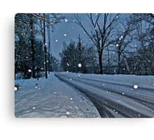 Looking Down The Snowy Road Canvas Print