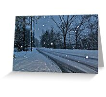 Looking Down The Snowy Road Greeting Card