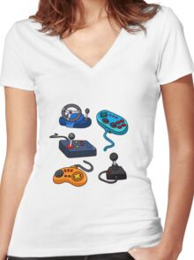 Video Game  Controls Women's Fitted V-Neck T-Shirt