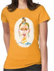 fashion #36: a girl with large earrings Womens Fitted T-Shirt