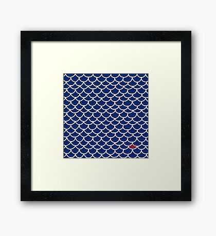 Fish scales blue Framed Print