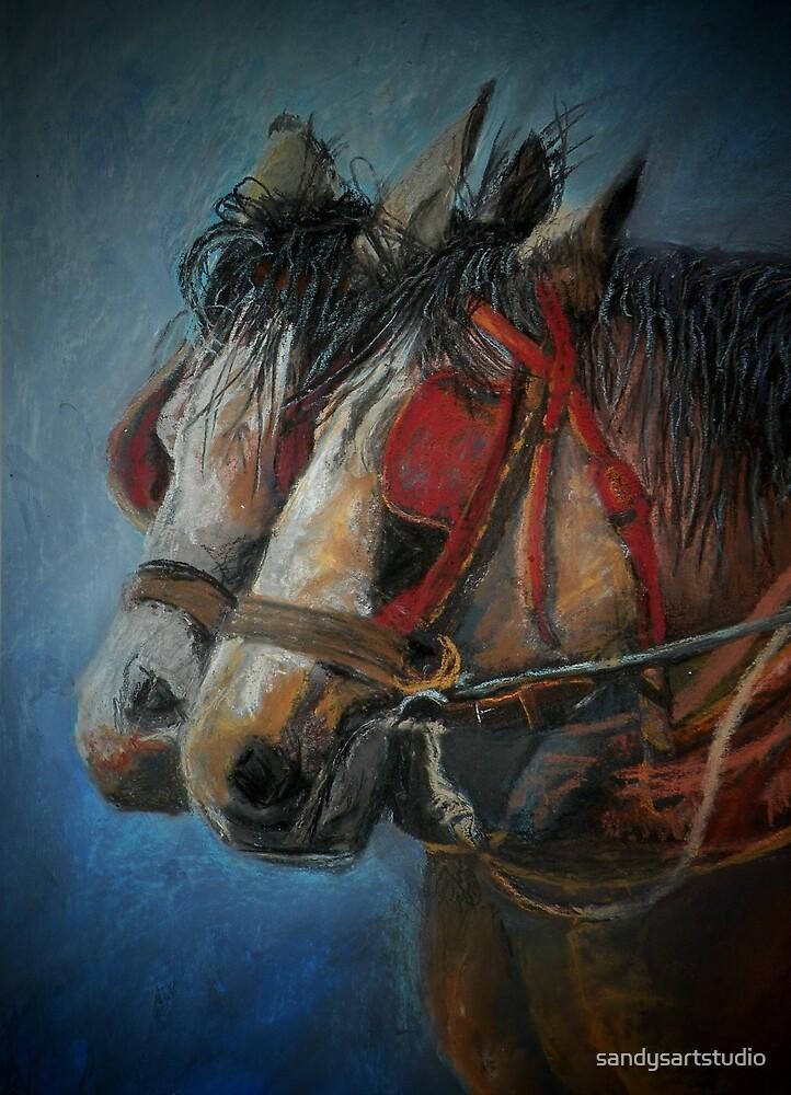 Draft horses.............Flo and Joe by sandysartstudio