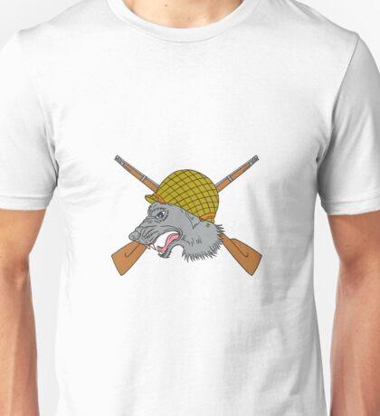 Grey Wolf Head World War 2 Helmet Drawing Unisex T-Shirt