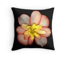 Pink and Yellow Begonia Throw Pillow