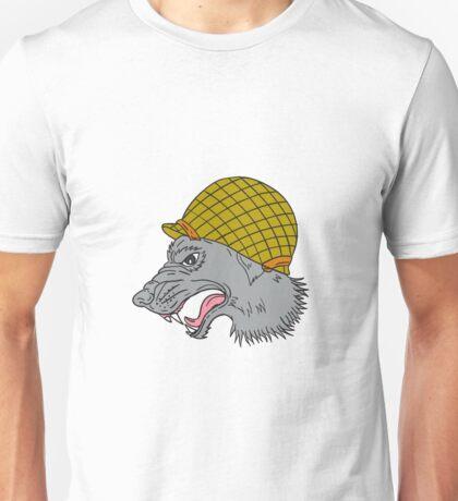 Grey Wolf Head Growling WW2 Helmet Drawing Unisex T-Shirt
