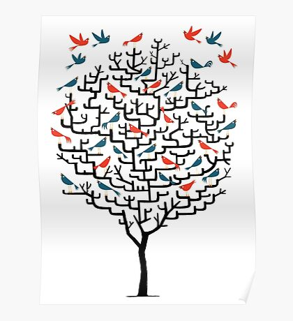 Graphic tree with birds Poster