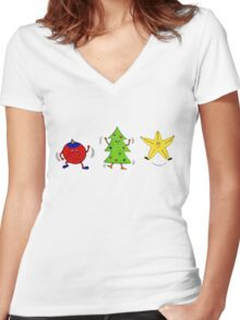 Christmas characters - complete set  Women's Fitted V-Neck T-Shirt
