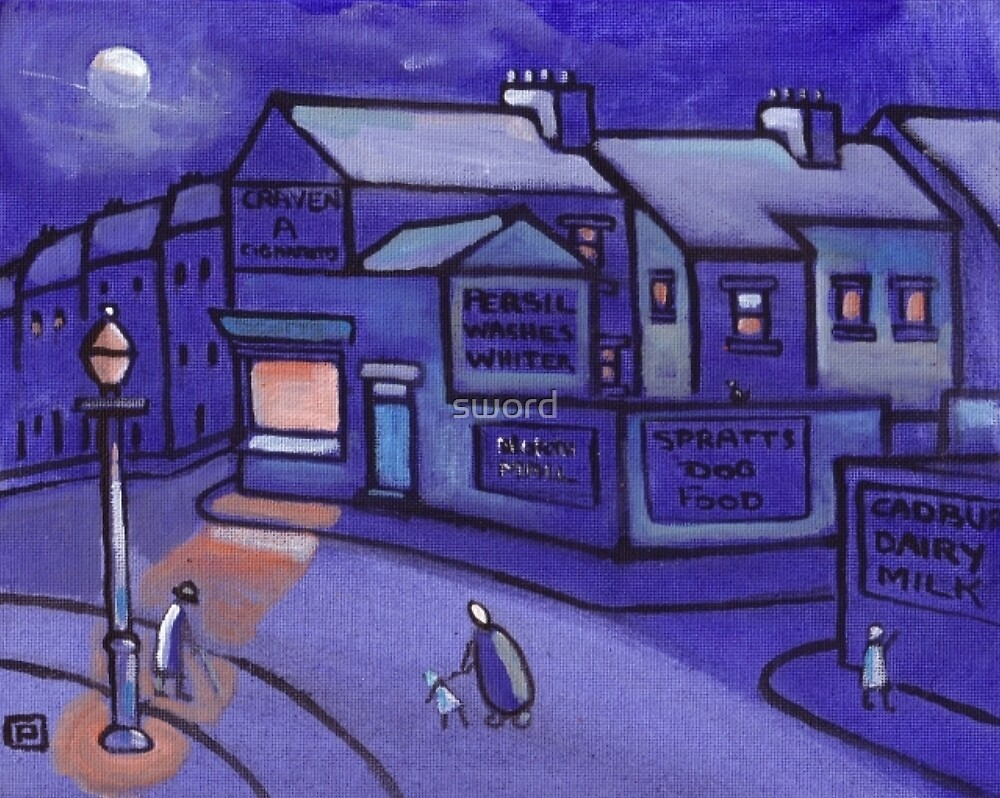 The corner shop (from my original acrylic painting) by sword