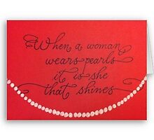 When a woman wears pearls quote calligraphy art by Melissa Goza