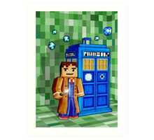 8bit blue phone box with space and time traveller Art Print