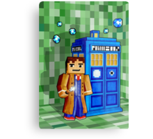 8bit blue phone box with space and time traveller Metal Print