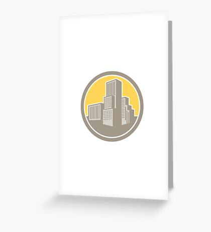 Urban Skyscraper Buildings Circle Retro Greeting Card