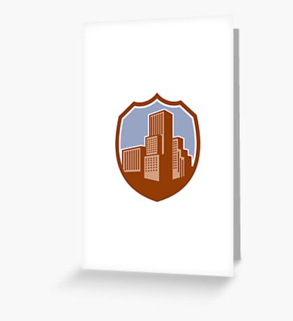 Urban Skyscraper Buildings Shield Retro Greeting Card