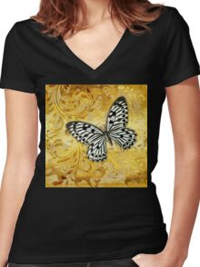 Gilded Garden a butterfly amidst golden floral shapes Women's Fitted V-Neck T-Shirt