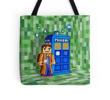 8bit blue phone box with space and time traveller Tote Bag