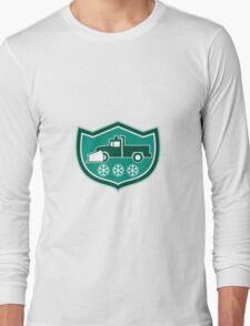 Snow Plow Truck Snowflakes Shield Retro Long Sleeve T-Shirt