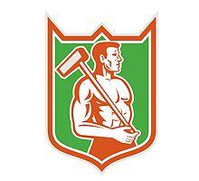 Union Worker With Sledgehammer Shield Retro by patrimonio