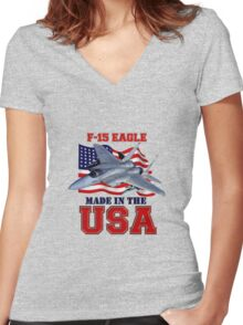 F-15 Eagle Made in the USA Women's Fitted V-Neck T-Shirt