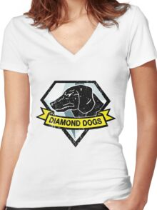 Diamond Dogs by AronTees Women's Fitted V-Neck T-Shirt