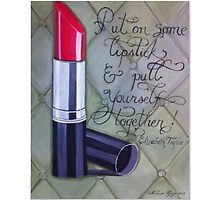 Inspirational quote red lipstick painting by Melissa Goza