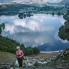 Marj almost to top of Loughrigg Fell Lake District England 198405200027  by Fred Mitchell