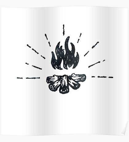 CAMPFIRE - Black and White Vintage Rustic Camping Adventure Fire Art Design Poster