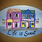 Cupcakes & Coffee shops acrylic painting on sign  by Melissa Goza