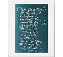 Handwritten quote We the Willing by Melissa Goza