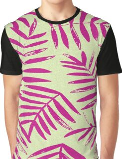 Pink and Lime Tropical Fern Graphic T-Shirt