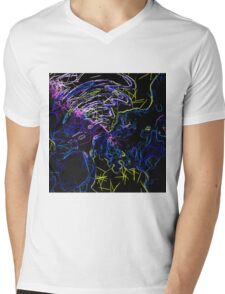 psychedelic geometric drawing abstract in blue pink purple yellow and black Mens V-Neck T-Shirt