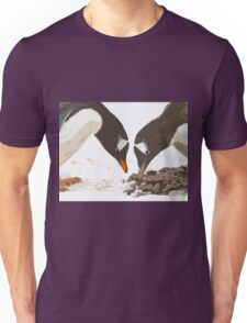 A gentoo penguin couple preparing their nest Unisex T-Shirt