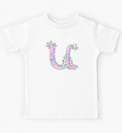 Letter U monogram flower and heart art Kids Tee