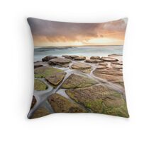 Water Fanning Over The Rocks Throw Pillow