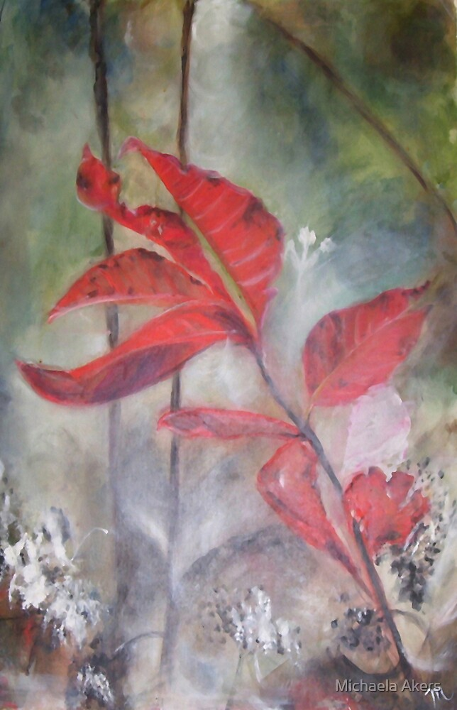 Red Leaves in Morning Mist by Michaela Akers