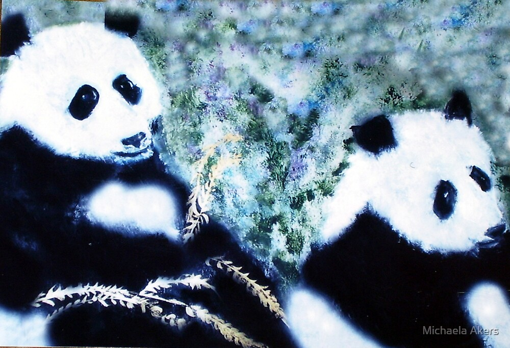 Pandas with Golden Bamboo by Michaela Akers