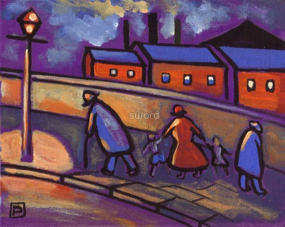 Northern street scene (from my original acrylic painting) by sword