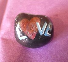 Hand painted Love rock by Melissa Goza