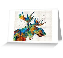 Colorful Moose Art - Confetti - By Sharon Cummings Greeting Card