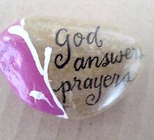 Hand painted rock God answers prayer  by Melissa Goza