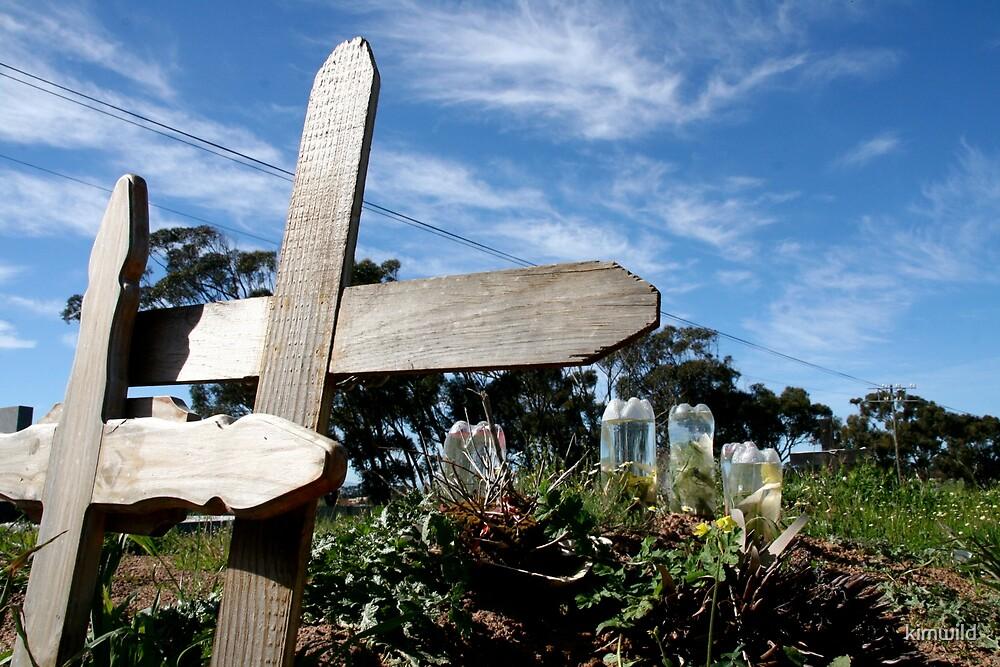 Graveyard crosses against blue skies by kimwild