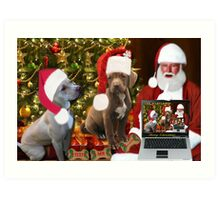 ☆ ★PRECIOUS MIRACLE ON PAWS- APBT- (DOGS) WITH SANTA -PICTURE/CARD HO HO HO RUFF RUFF-JUST FINISHED MAKING BARKING DOG VIDEO TO THE TUNE OF JINGLE BELLS ENJOY HUGS ☆ ★ Art Print