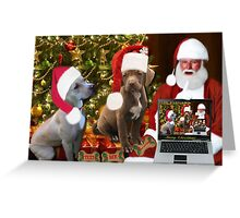 ☆ ★PRECIOUS MIRACLE ON PAWS- APBT- (DOGS) WITH SANTA -PICTURE/CARD HO HO HO RUFF RUFF-JUST FINISHED MAKING BARKING DOG VIDEO TO THE TUNE OF JINGLE BELLS ENJOY HUGS ☆ ★ Greeting Card