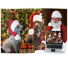 ☆ ★PRECIOUS MIRACLE ON PAWS- APBT- (DOGS) WITH SANTA -PICTURE/CARD HO HO HO RUFF RUFF-JUST FINISHED MAKING BARKING DOG VIDEO TO THE TUNE OF JINGLE BELLS ENJOY HUGS ☆ ★ Poster